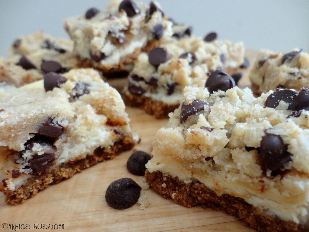 Recipe: Chocolate Chip Cookie Dough Cheesecake Bars - The Whimsical ...