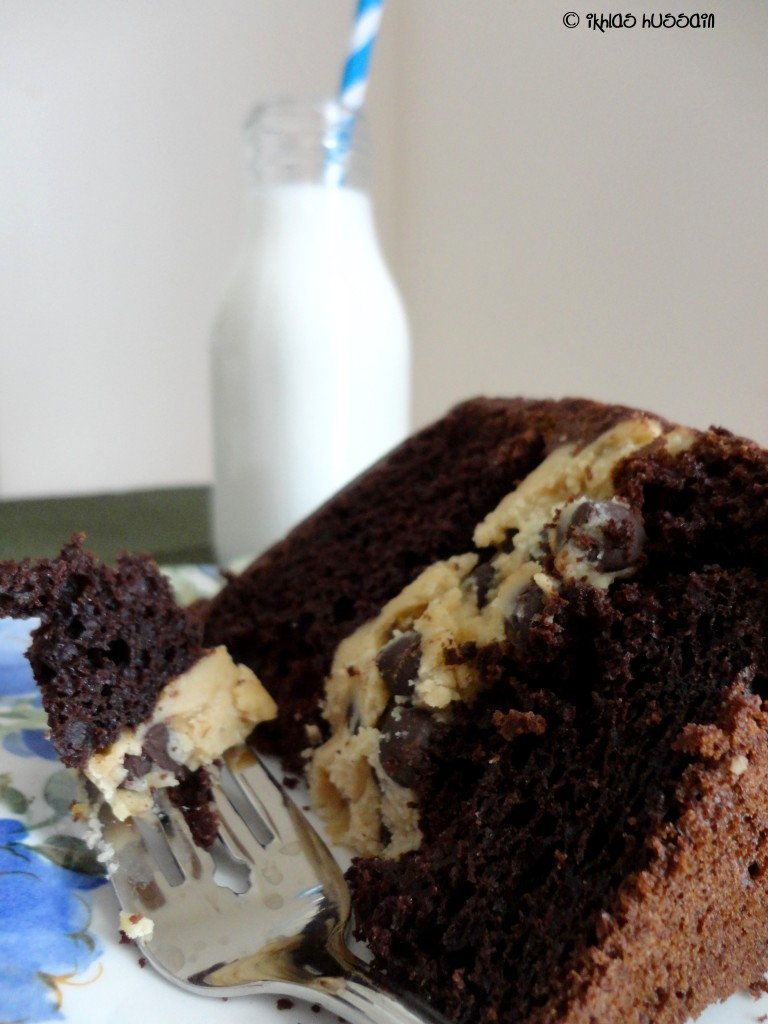 Chocolate Pudding Cake with Cookie Dough Frosting