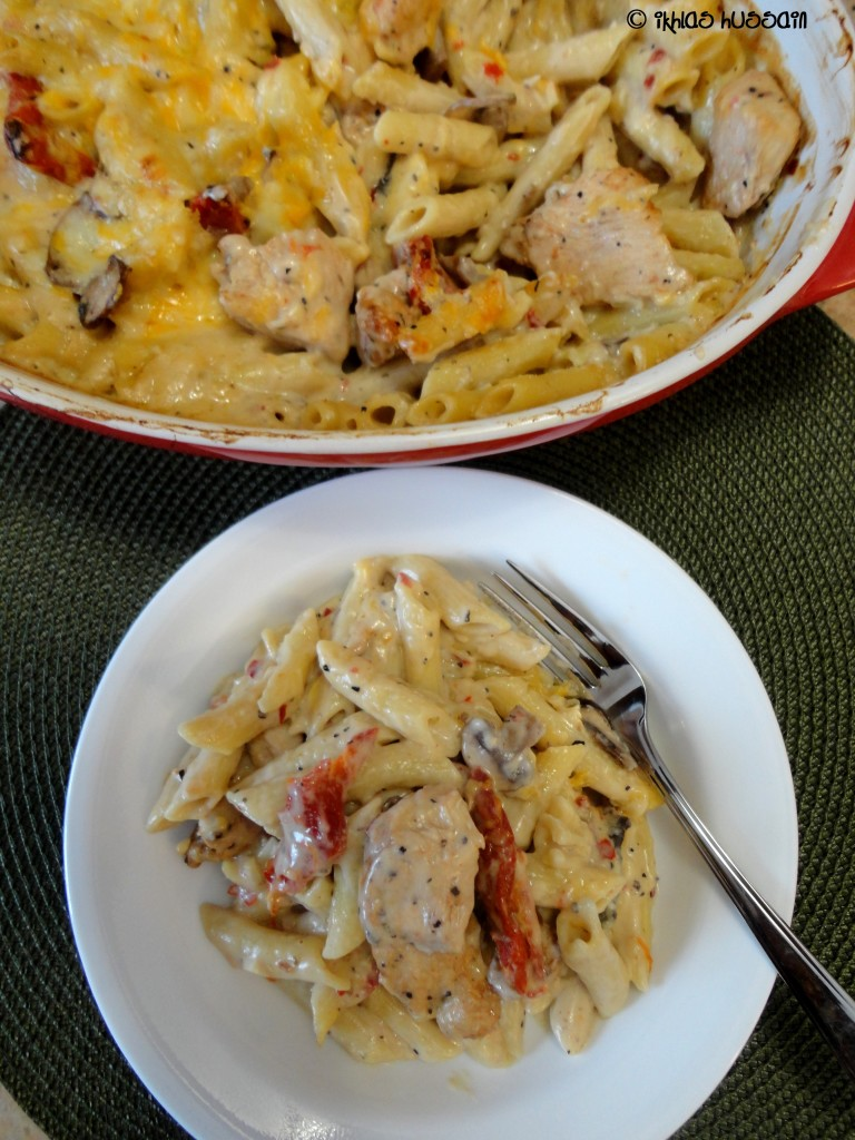 Baked Chicken Penne with Sundried Tomatoes and Mushrooms